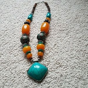 Boho tribal turquoise silver beaded necklace